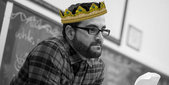 Mark Oshiro in a photoshopped crown