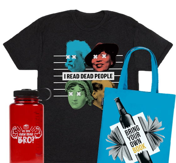 image of a Book Riot waterbottle in red, the I Read Dead People t-shirt, and the Bring Your Own Book tote bag