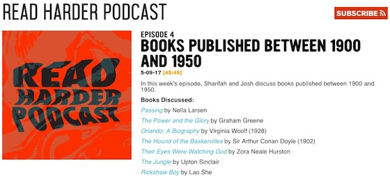 Screengrab of the Read Harder podcast page showing the new Subscribe button