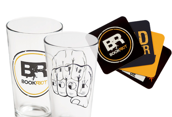 image of two pint glasses and assorted coasters