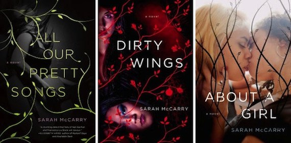 collage of the covers of Sarah McCarry's Metamorphoses trilogy