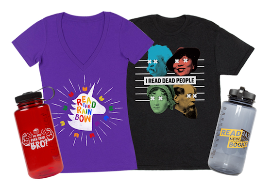 collage of t-shirts and water bottles