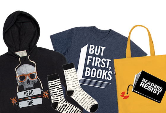 collage of items from the Book Riot store including a Read Or Die hoodie, a But First Books tshirt, some socks, and a tote