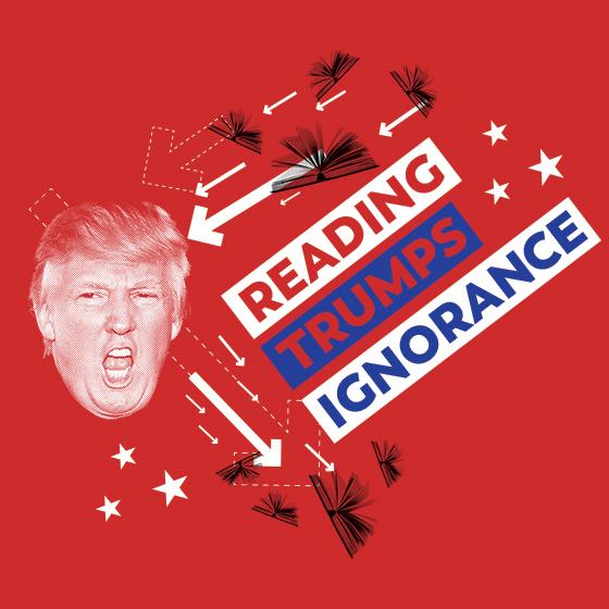 alternate version of the Reading Trumps Ignorance shirt