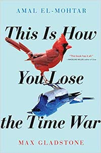 cover image showing a slightly pixelated red cardinal is mirrored by a blue bird with a white stomach; both are against a light blue background