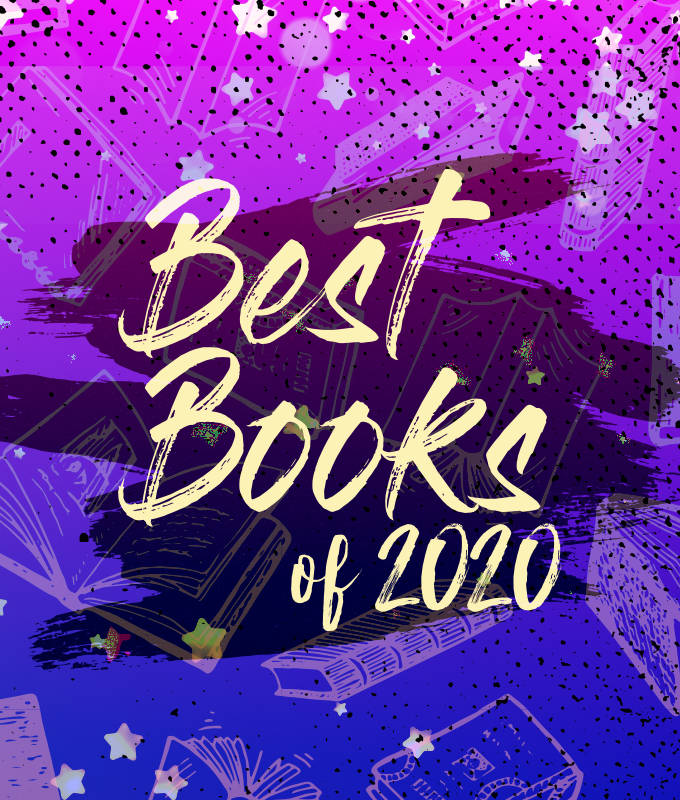 a purple and blue graphic with light yellow text; there are stars and outlines of floating books in the background