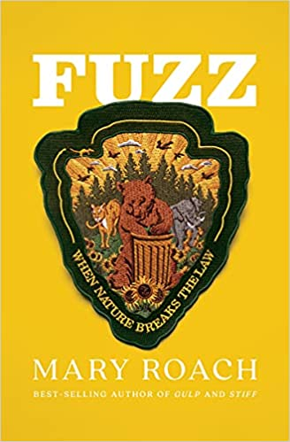 cover image of Fuzz- When Nature Breaks the Law by Mary Roach showing an iron on patch with a bear, a cougar, and an elephant