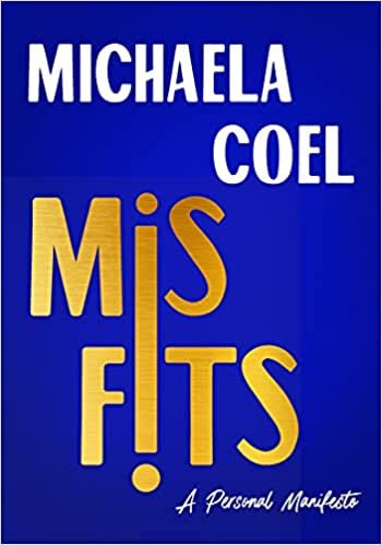 cover of Misfits: A Personal Manifesto by Michaela Coel, blue with white and gold font