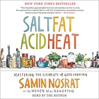 A graphic of the cover of Salt Fat Acid Heat