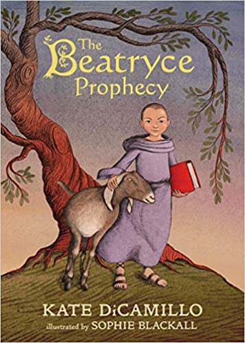 cover of The Beatryce Prophecy by Kate DiCamillo and Sophie Blackall, featuring an illustration of a young woman with a shaved head, wearing a purple robe and carrying a red book, and petting a goat