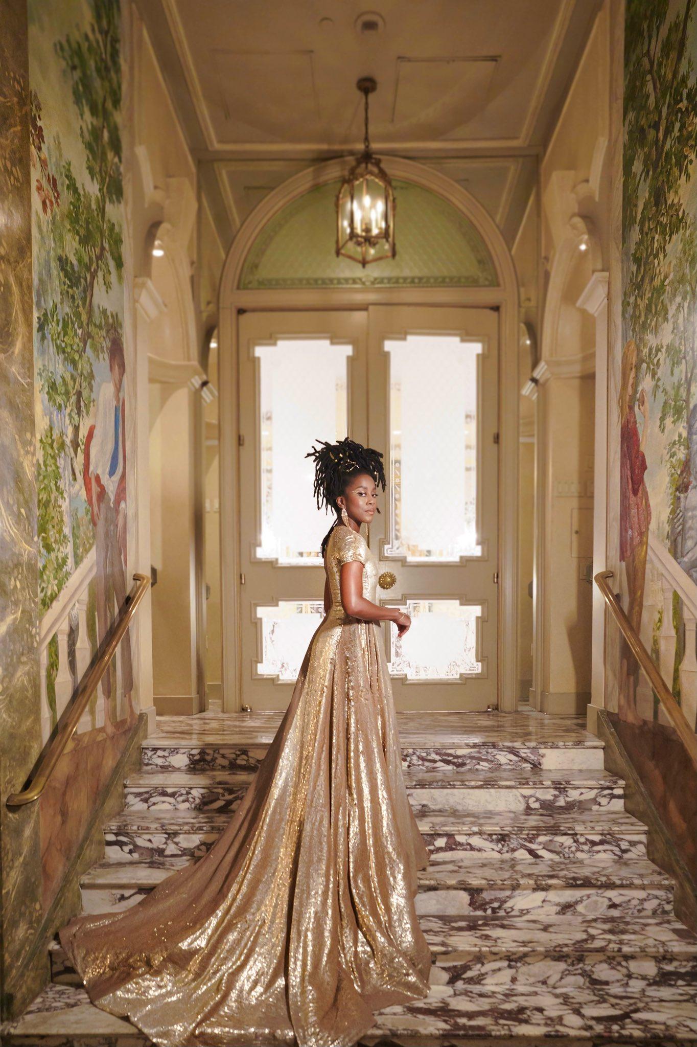 Tomi Adeyemi in stunning gold dress at Met Gala, 2021