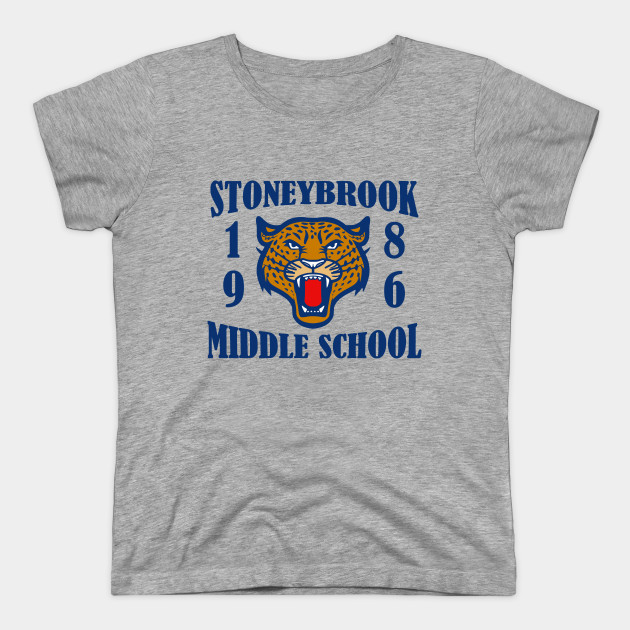 """Image of a grey t-shirt which reads """"Stoneybrook middle school 1985,"""" with a tiger face."""