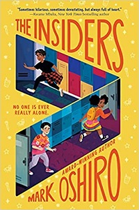 cover of the insiders by mark oshiro, a yellow cover with three cartoon children running through open doors