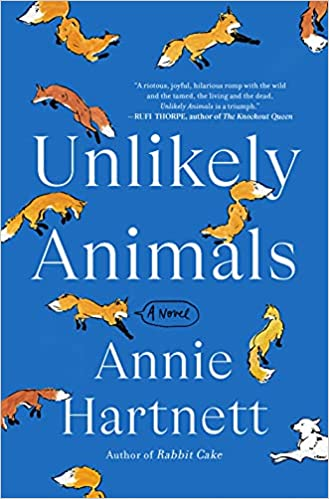 cover of Unlikely Animals by Annie Hartnett, blue with cartoon foxes and white dogs all over it