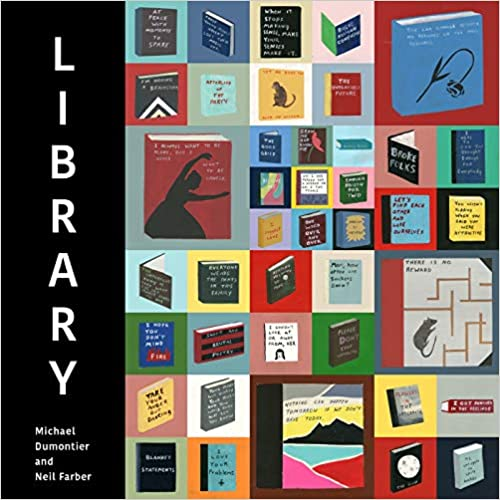 cover of Library by Michael Dumontier and Neil Farber, featuring several small squares of different colors with a hand-painted book in each one