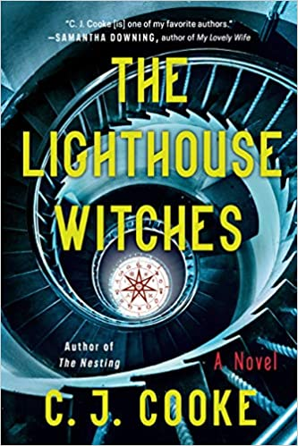 cover of The Lighthouse Witches by C.J. Cooke, featuring a pentagram and a spiral staircase