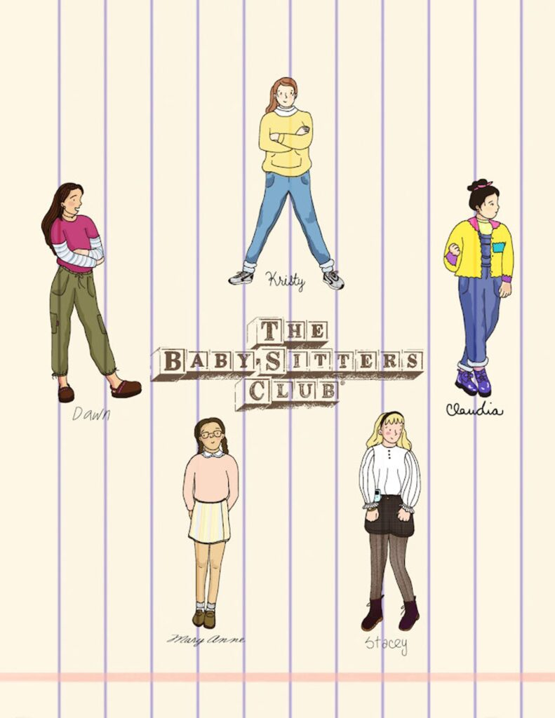 Image of the five first baby-sitters club characters on a background which looks like notebook paper.