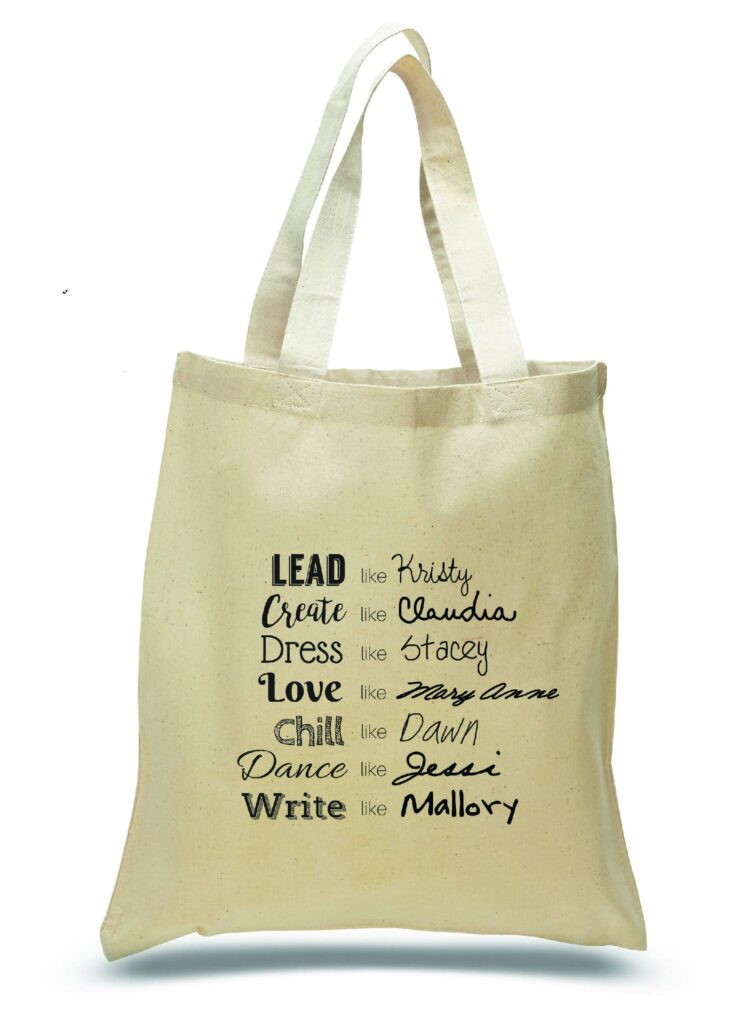 Image of a canvas tote with qualities of each BSC character.