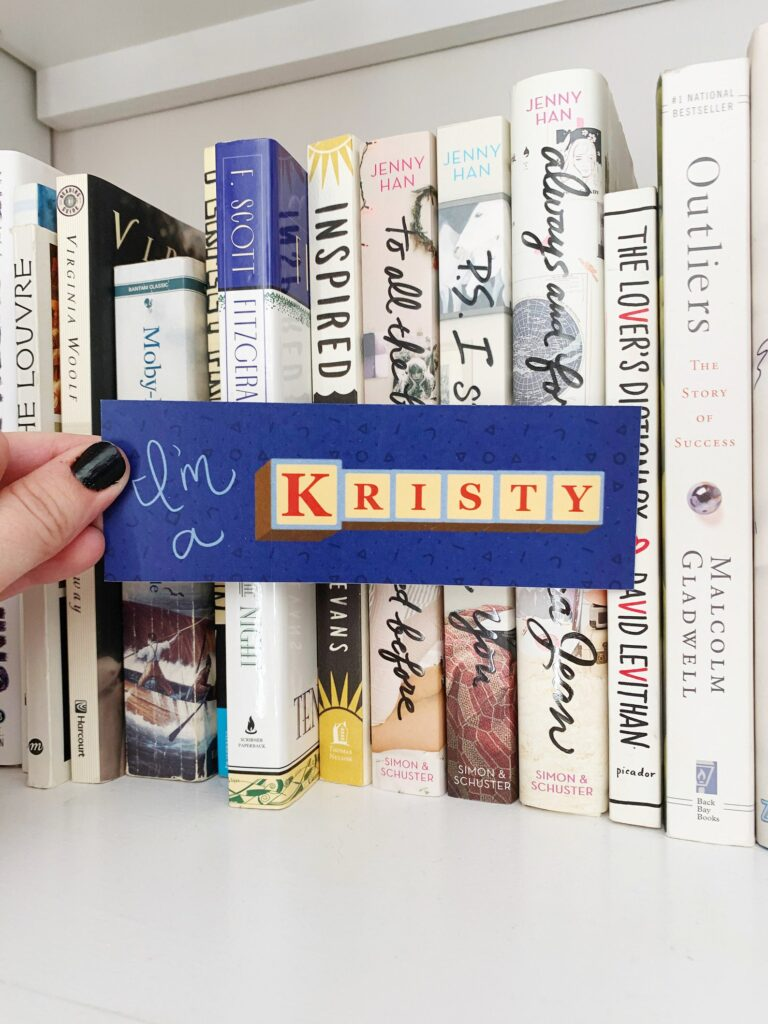 """Image of a bookmark that reads """"I'm a Kristy."""""""